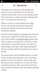 Extract from The Irish Times 30/04/20